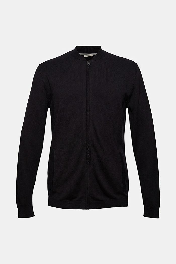 Zip cardigan made of 100% organic cotton, BLACK, detail image number 5