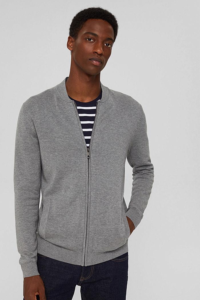 Cardigan con zip in 100% cotone biologico, MEDIUM GREY, detail image number 0