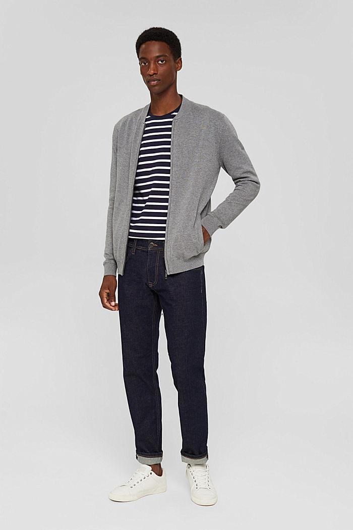 Cardigan con zip in 100% cotone biologico, MEDIUM GREY, detail image number 1