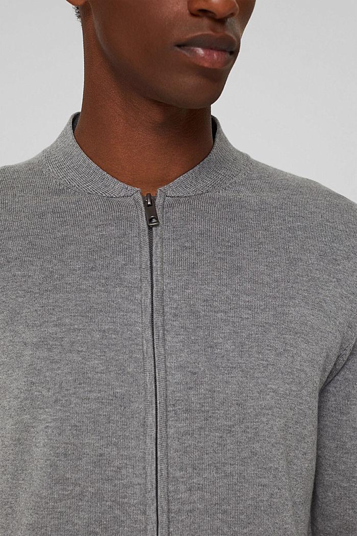 Cardigan con zip in 100% cotone biologico, MEDIUM GREY, detail image number 2