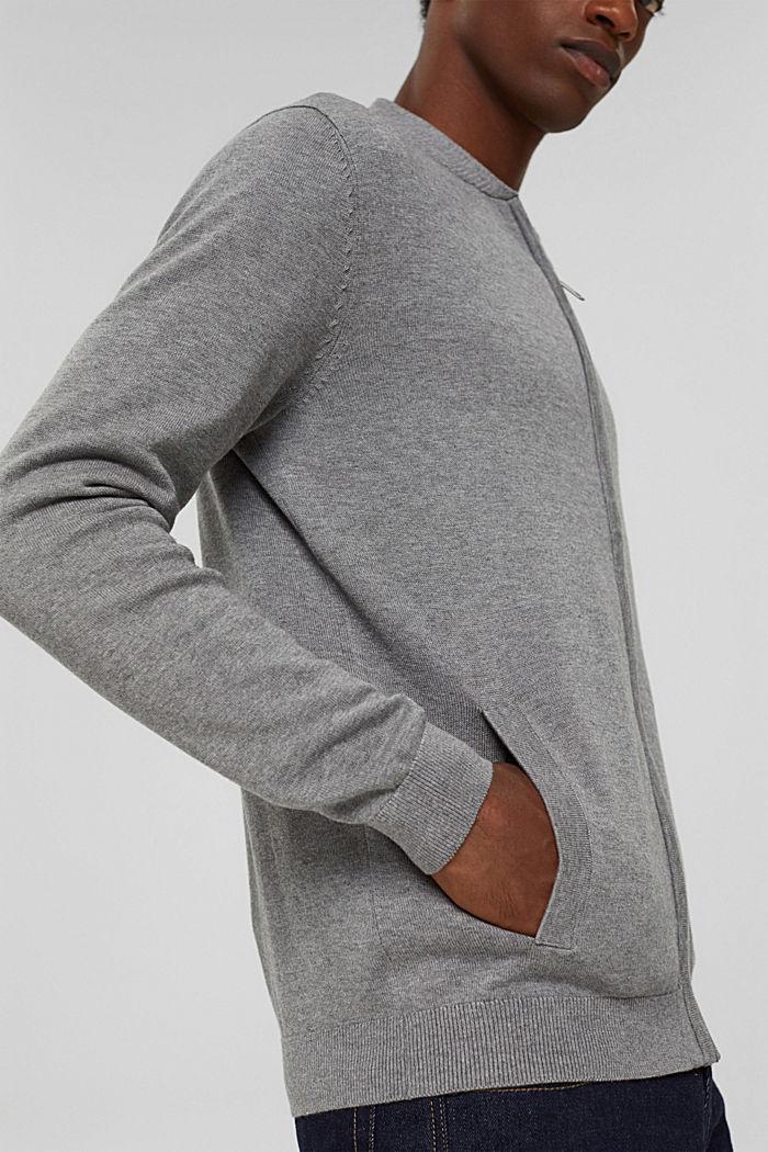 Cardigan con zip in 100% cotone biologico, MEDIUM GREY, detail image number 6