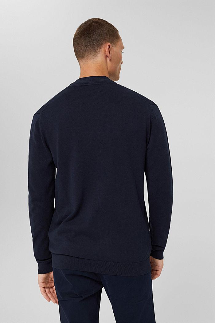 Cardigan zippé en 100% coton biologique, NAVY, detail image number 3
