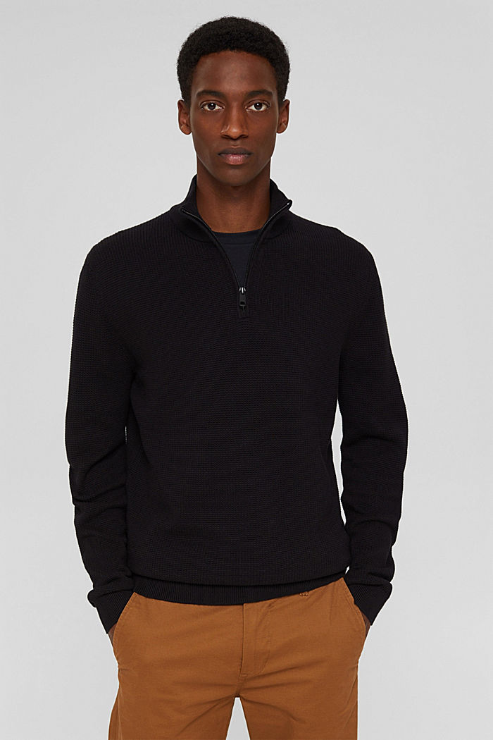 Pullover con zip in 100% cotone Pima, BLACK, detail image number 0