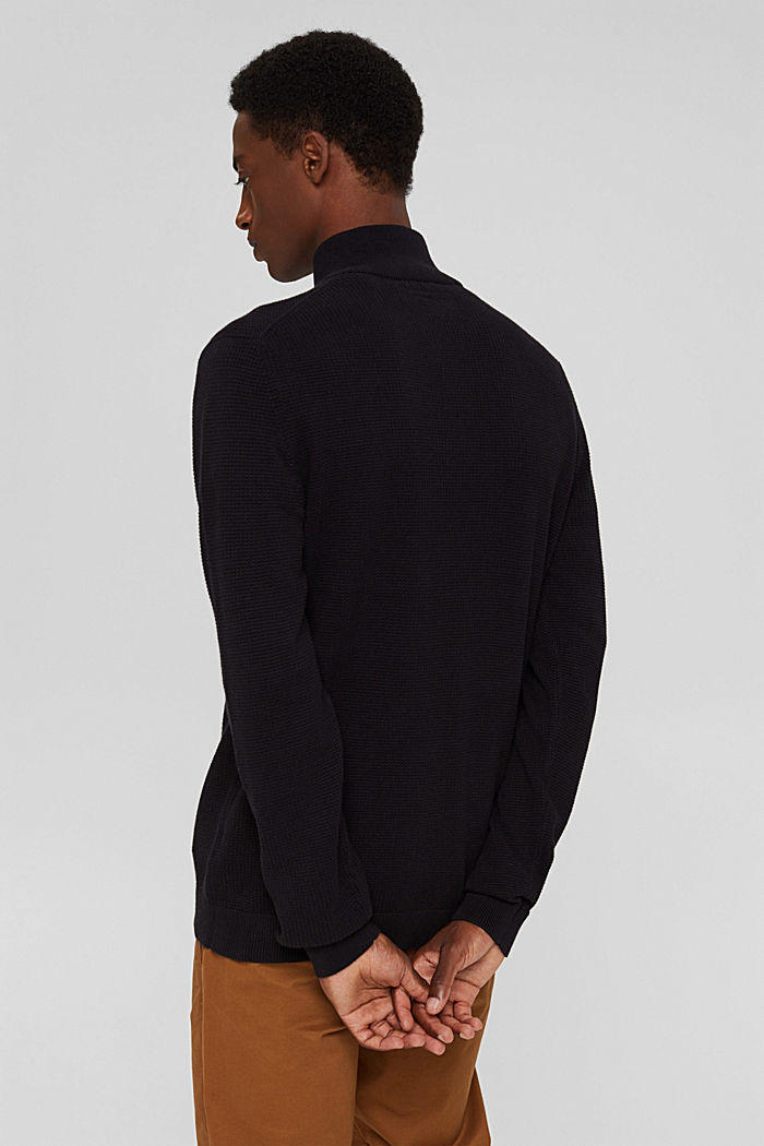Pullover con zip in 100% cotone Pima, BLACK, detail image number 3