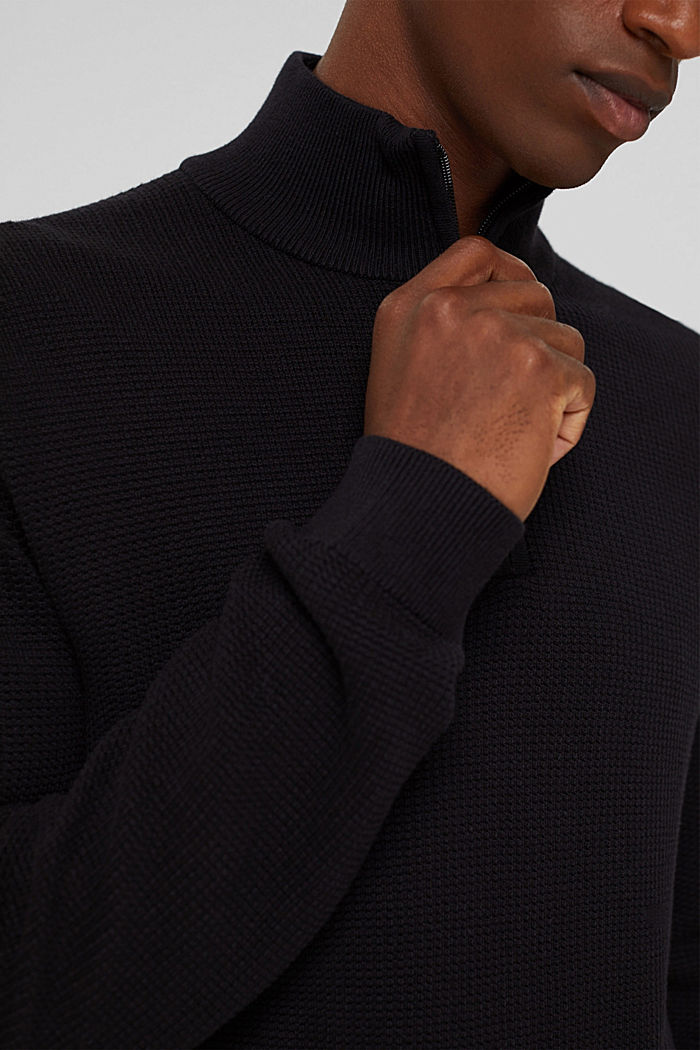Pullover con zip in 100% cotone Pima, BLACK, detail image number 2