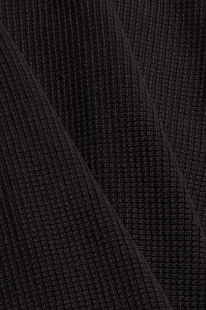 Pullover con zip in 100% cotone Pima, BLACK, detail image number 4