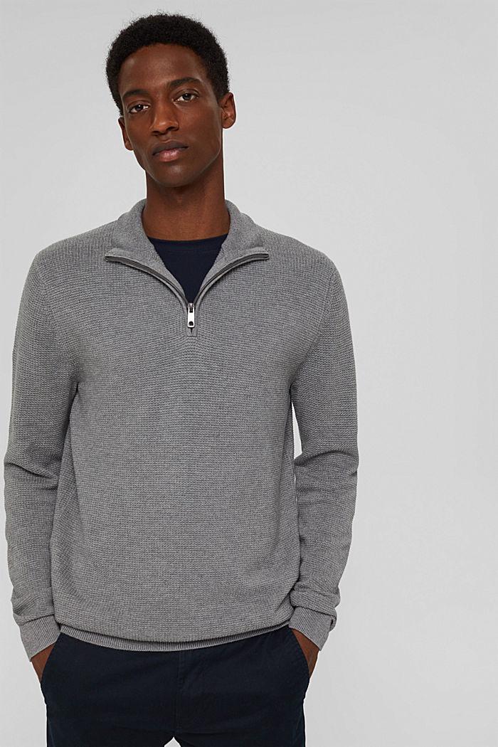 Zip-neck jumper made of 100% Pima cotton, MEDIUM GREY, detail image number 0
