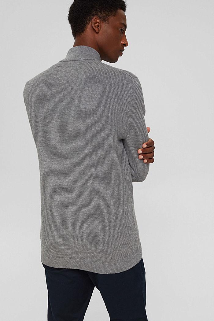Zip-neck jumper made of 100% Pima cotton, MEDIUM GREY, detail image number 3