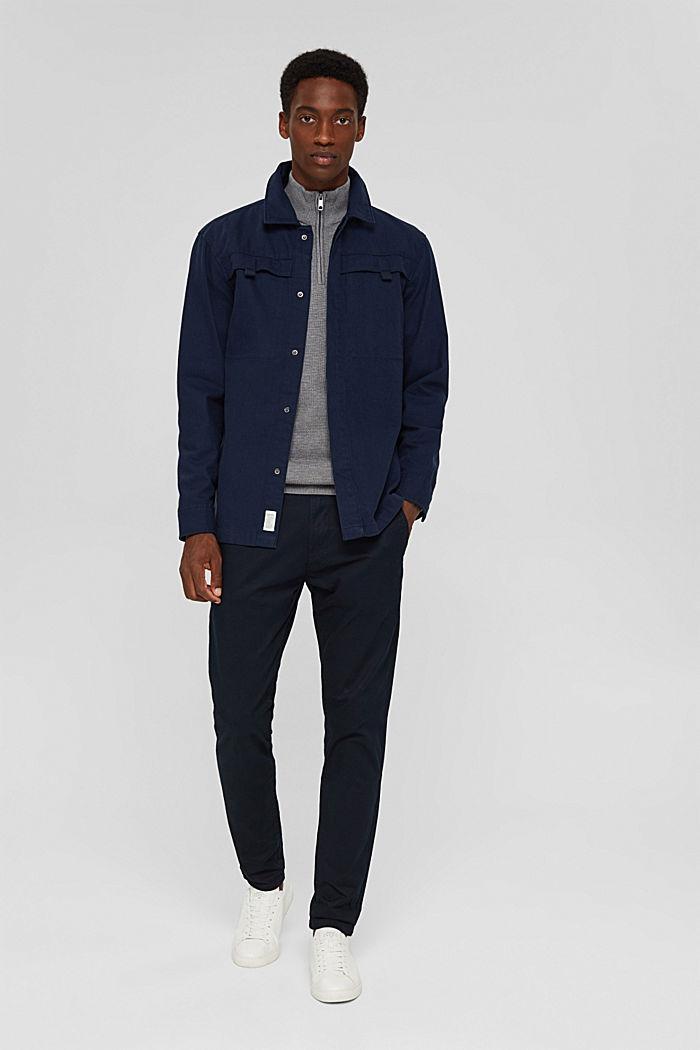 Zip-neck jumper made of 100% Pima cotton, MEDIUM GREY, detail image number 1