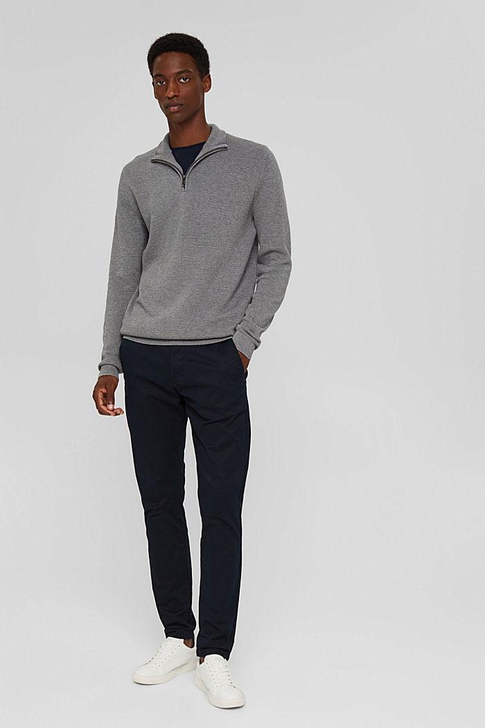 Zip-neck jumper made of 100% Pima cotton, MEDIUM GREY, detail image number 6