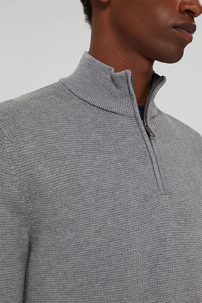 Zip-neck jumper made of 100% Pima cotton, MEDIUM GREY, detail image number 2
