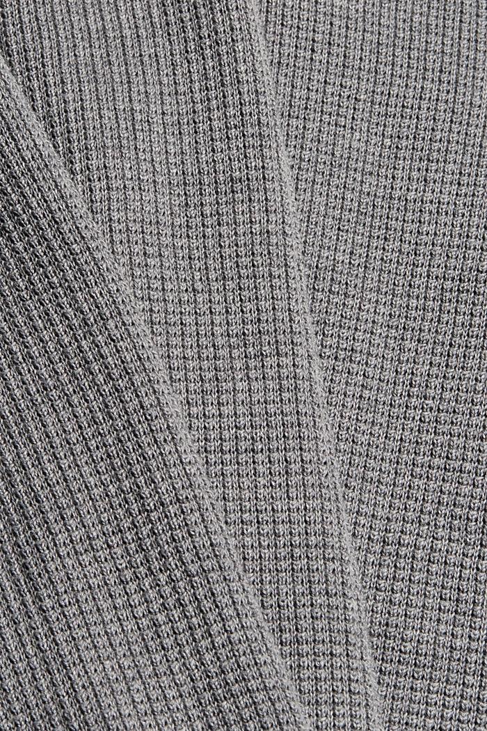 Zip-neck jumper made of 100% Pima cotton, MEDIUM GREY, detail image number 4
