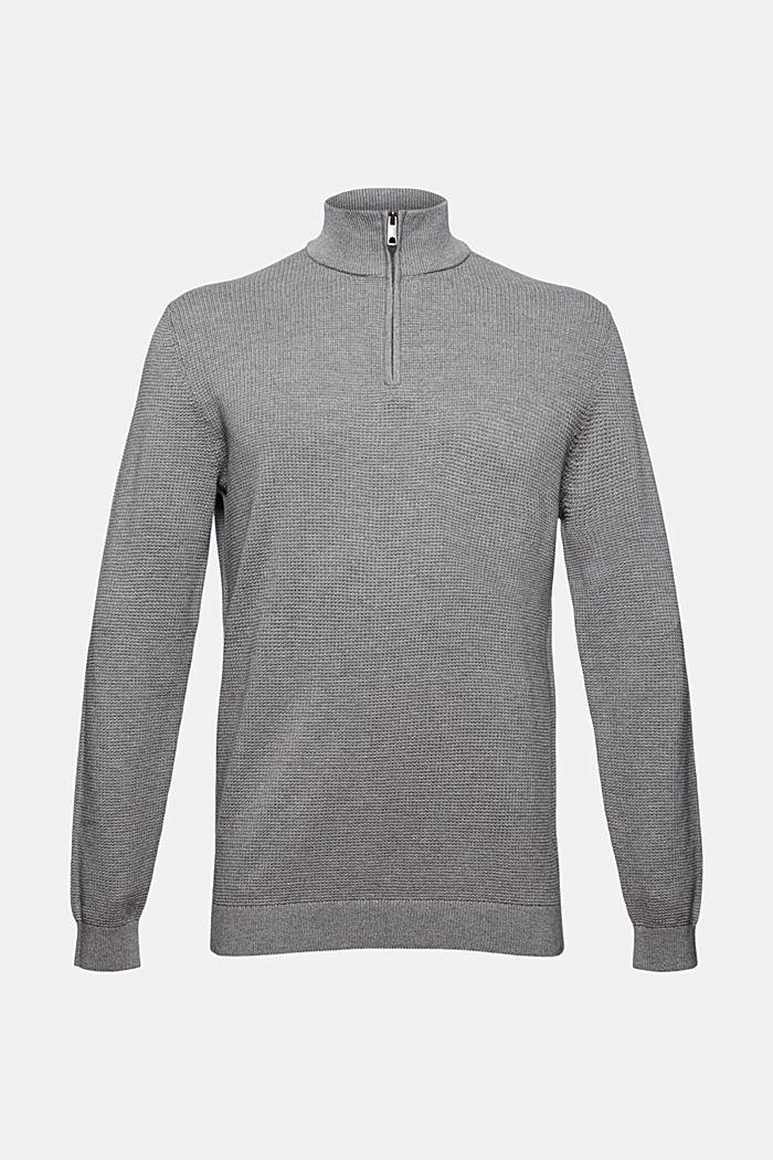 Jersey con cuello de cremallera en 100 % algodón Pima