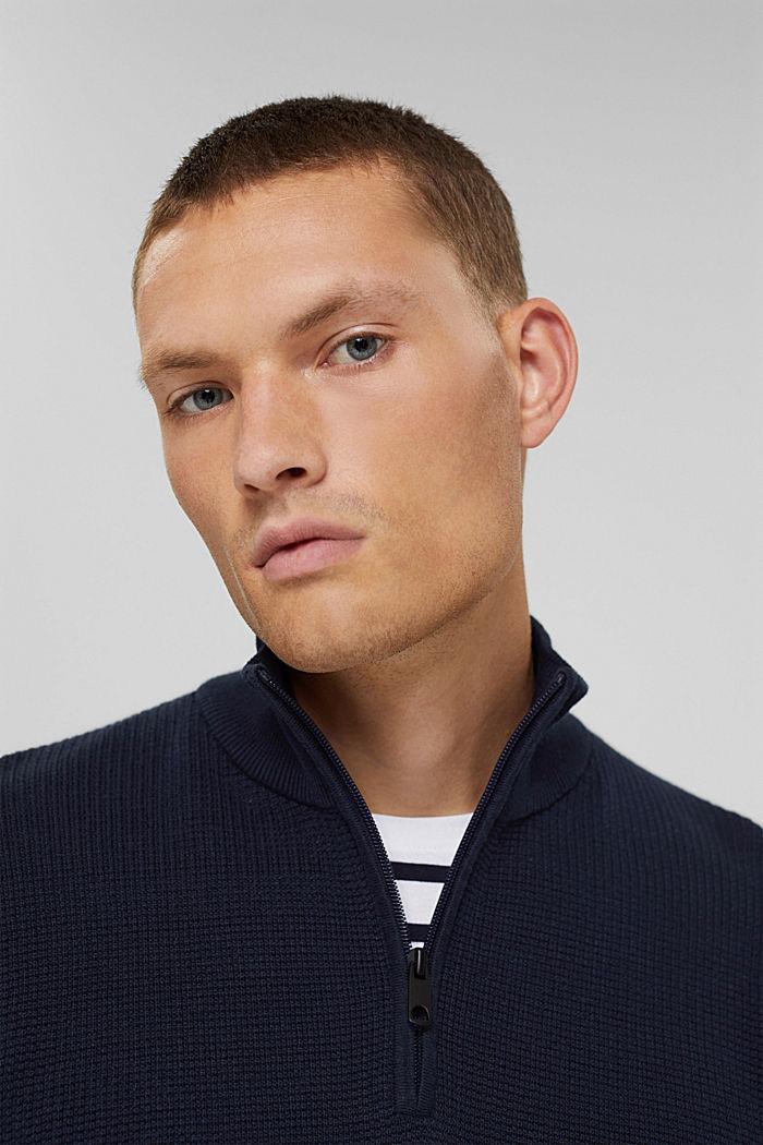 Pulovr s límcem na zip, ze 100% bavlny pima