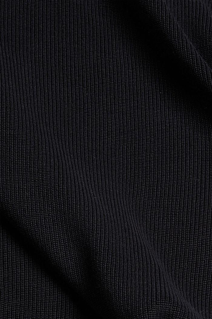 Trui van ribbreisel, van 100% biologisch katoen, BLACK, detail image number 4