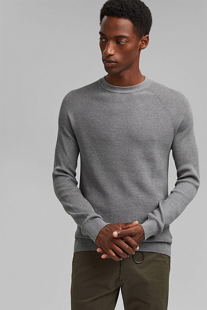 Rib knit jumper made of 100% cotton, MEDIUM GREY, detail image number 0