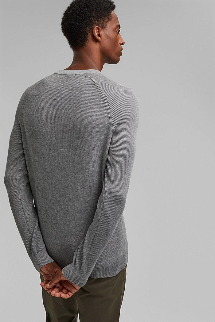 Rib knit jumper made of 100% cotton, MEDIUM GREY, detail image number 3