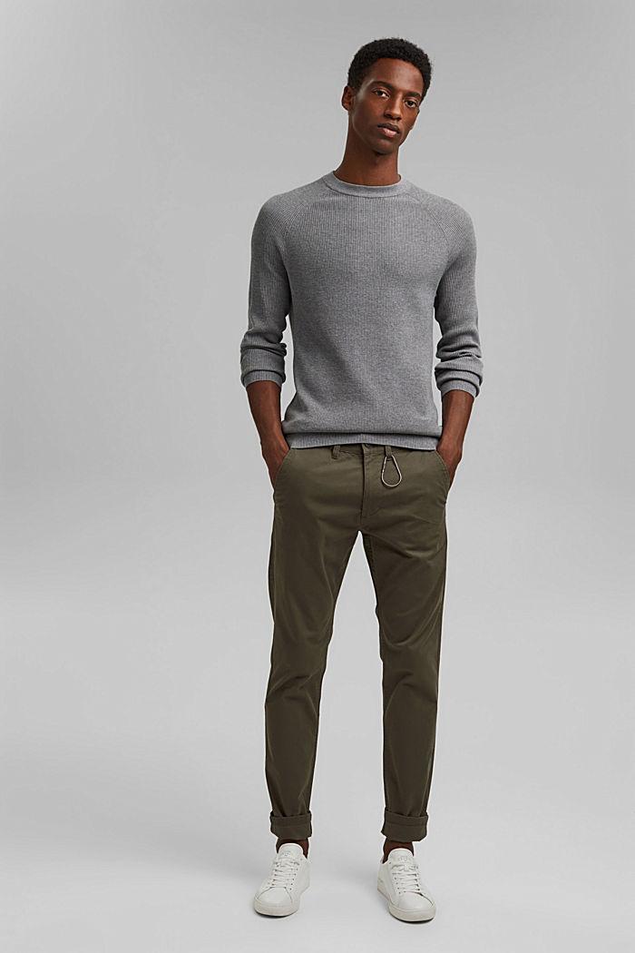 Rib knit jumper made of 100% cotton, MEDIUM GREY, detail image number 1