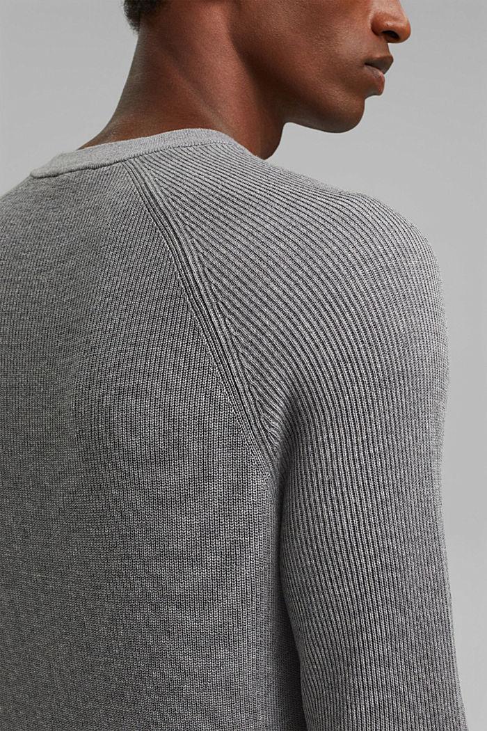Rib knit jumper made of 100% cotton, MEDIUM GREY, detail image number 2