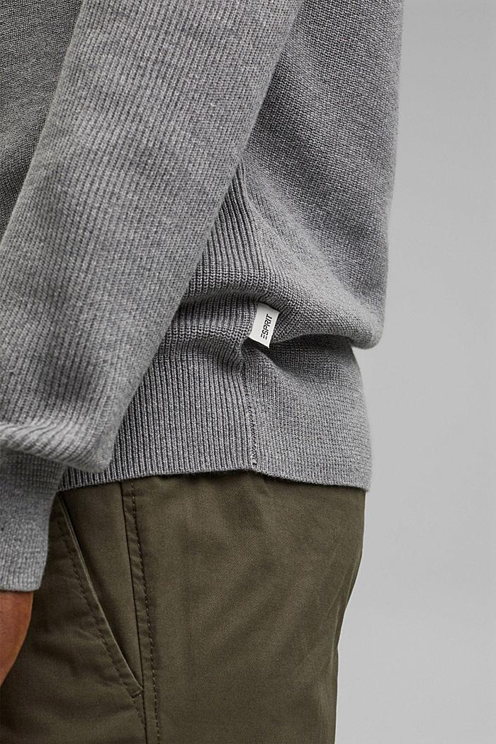Rib knit jumper made of 100% cotton, MEDIUM GREY, detail image number 5