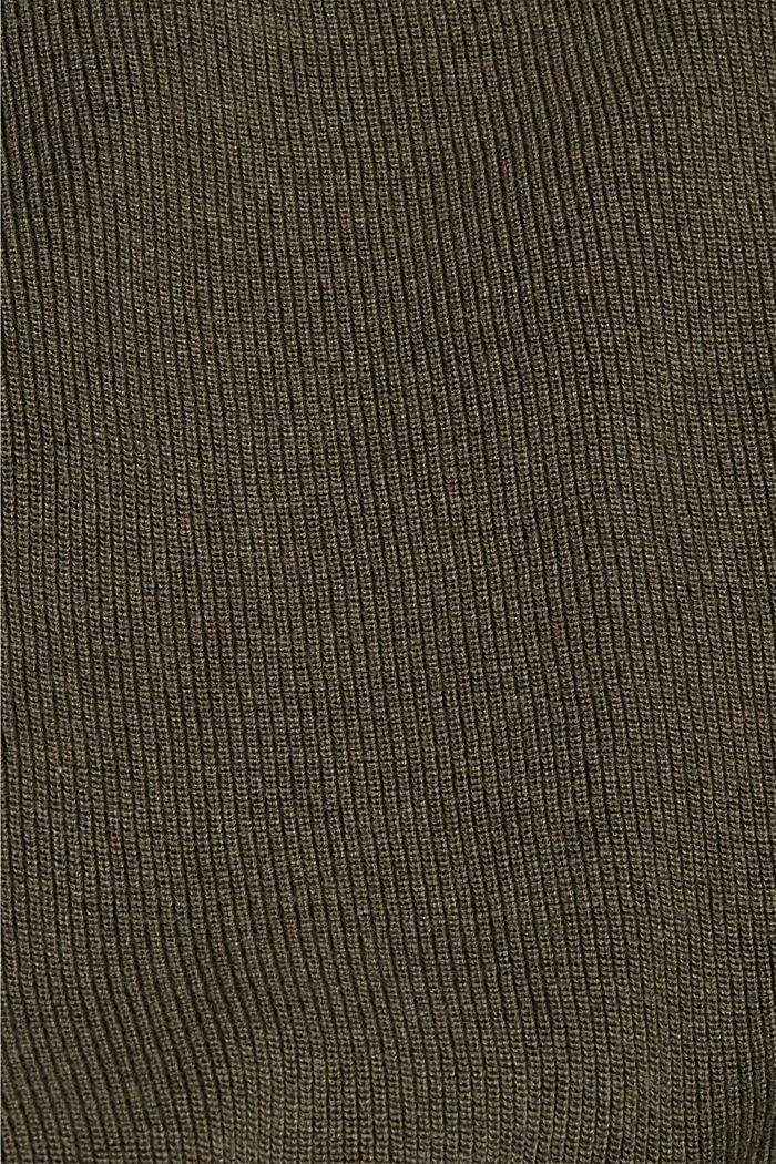 Trui van ribbreisel, van 100% biologisch katoen, DARK KHAKI, detail image number 4