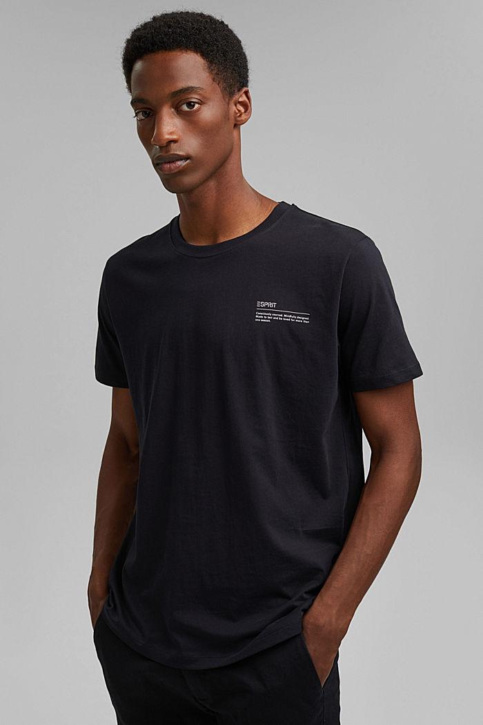 Jersey-T-Shirt mit Print, 100% Bio-Baumwolle, BLACK, detail image number 0