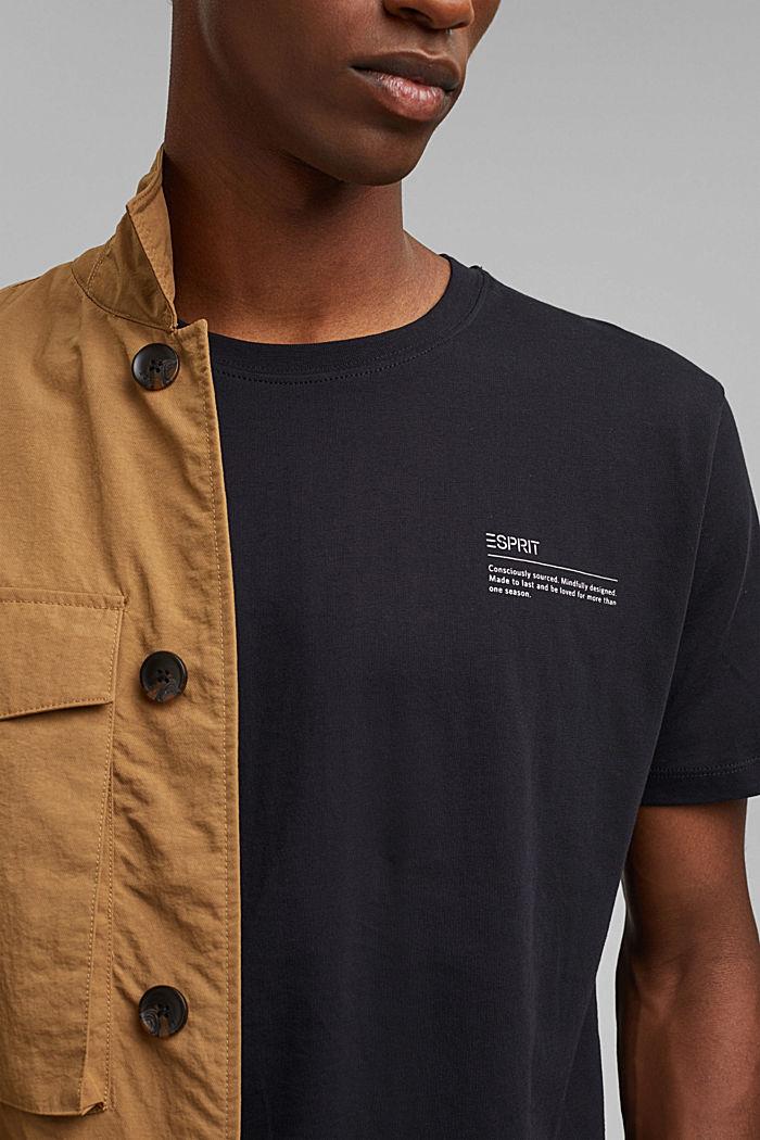 Jersey-T-Shirt mit Print, 100% Bio-Baumwolle, BLACK, detail image number 1