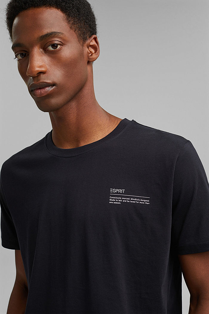 Jersey-T-Shirt mit Print, 100% Bio-Baumwolle, BLACK, detail image number 5