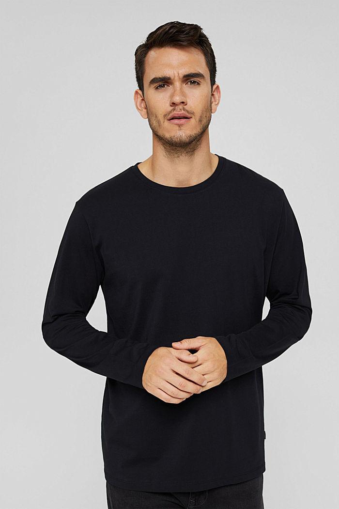 Haut à manches longues en jersey, 100% coton bio, BLACK, detail image number 0