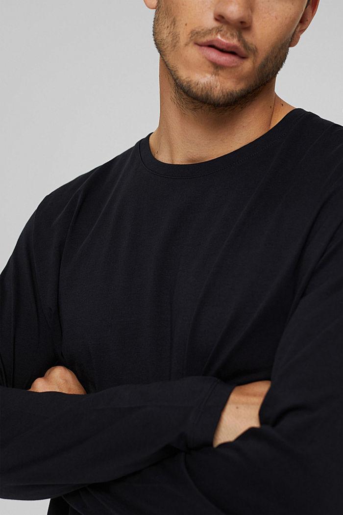 Haut à manches longues en jersey, 100% coton bio, BLACK, detail image number 1