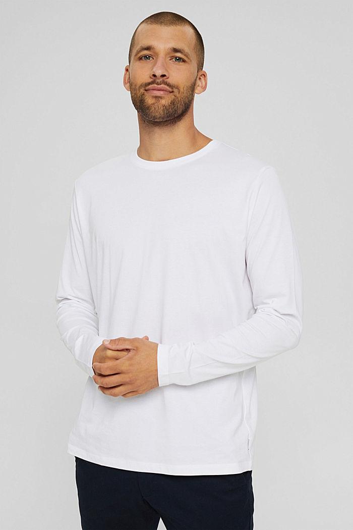 Haut à manches longues en jersey, 100% coton bio, WHITE, detail image number 0