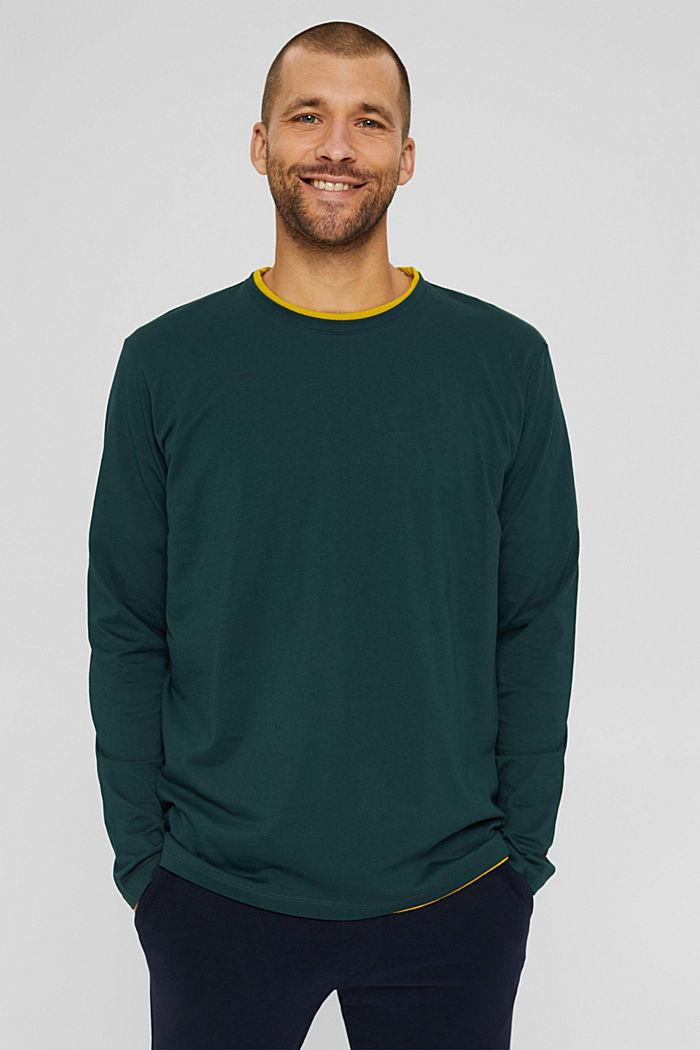 Haut à manches longues en jersey, 100% coton bio, TEAL BLUE, detail image number 0