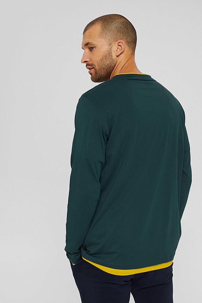 Haut à manches longues en jersey, 100% coton bio, TEAL BLUE, detail image number 3