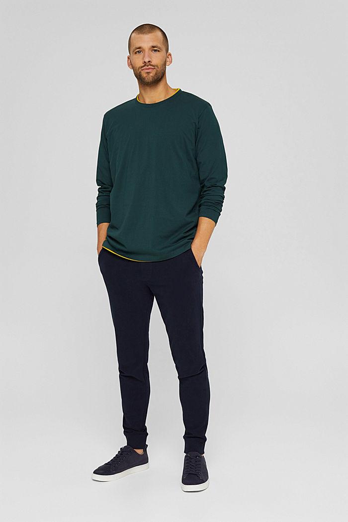 Haut à manches longues en jersey, 100% coton bio, TEAL BLUE, detail image number 2