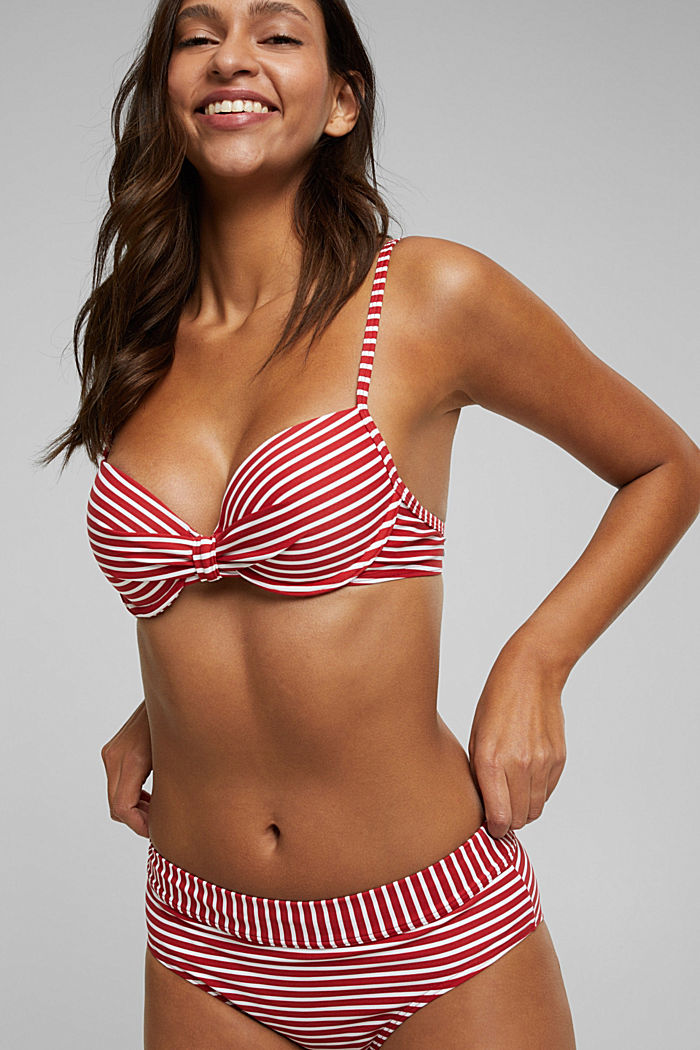 Recycled: Underwire top with stripes, RED, detail image number 0