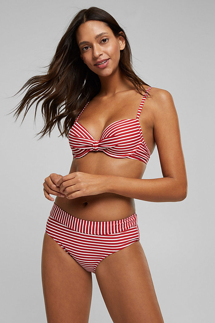 Recycled: Underwire top with stripes, RED, detail image number 2