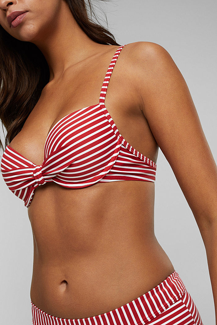 Recycled: Underwire top with stripes, RED, detail image number 3