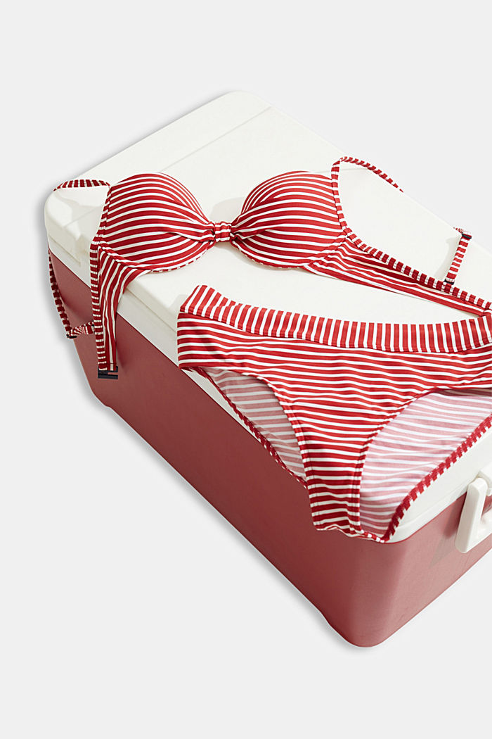 Recycled: Underwire top with stripes, RED, detail image number 4