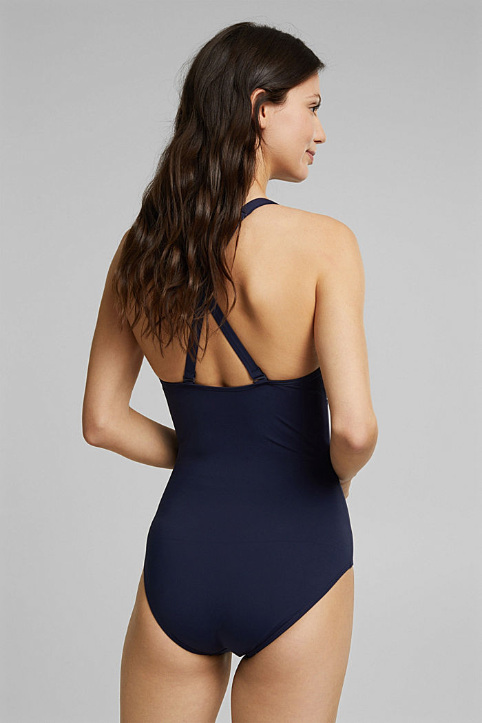 Shaping swimsuit with mesh, NAVY, detail image number 1