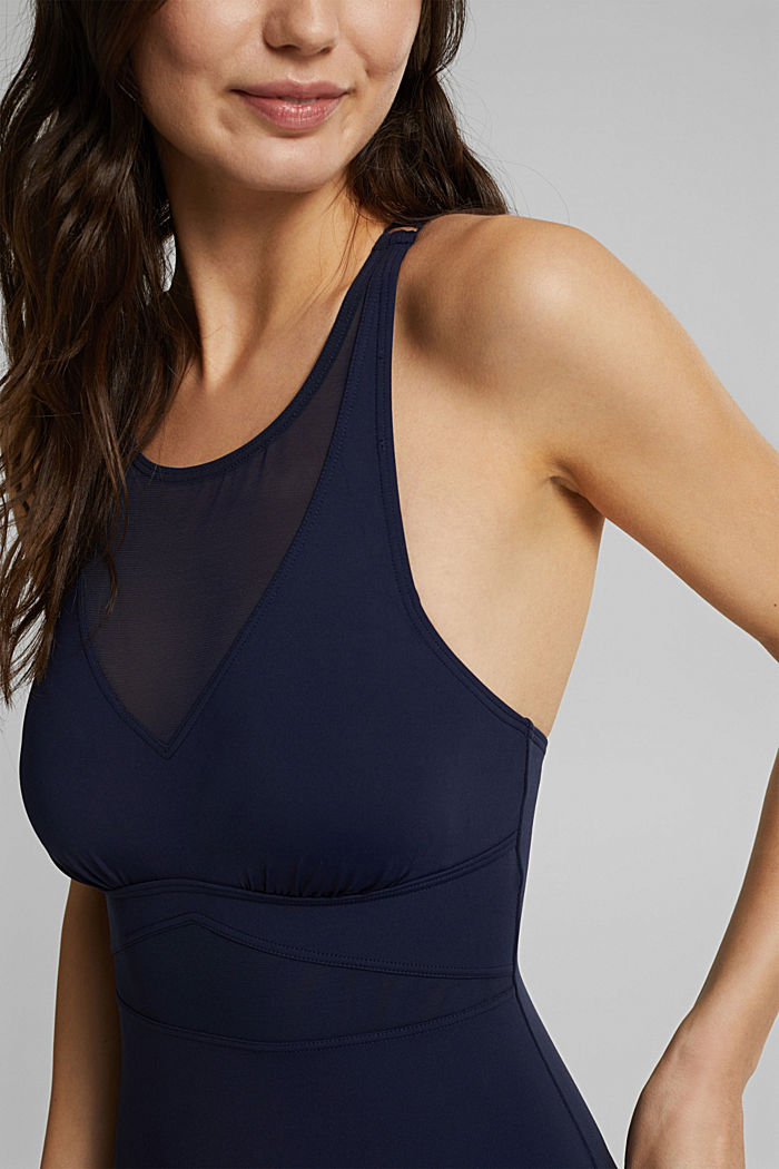 Shaping swimsuit with mesh, NAVY, detail image number 2