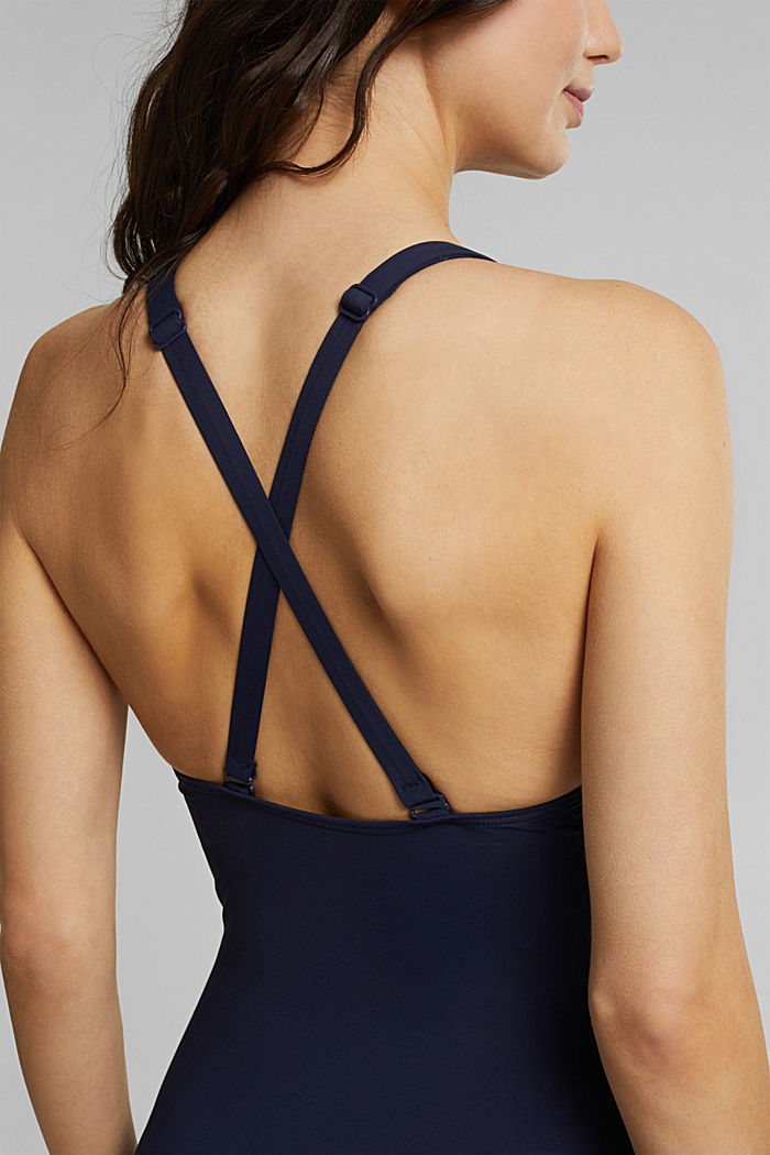 Shaping swimsuit with mesh, NAVY, detail image number 3