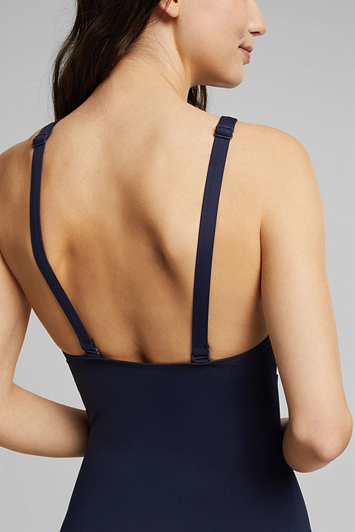Shaping swimsuit with mesh, NAVY, detail image number 4