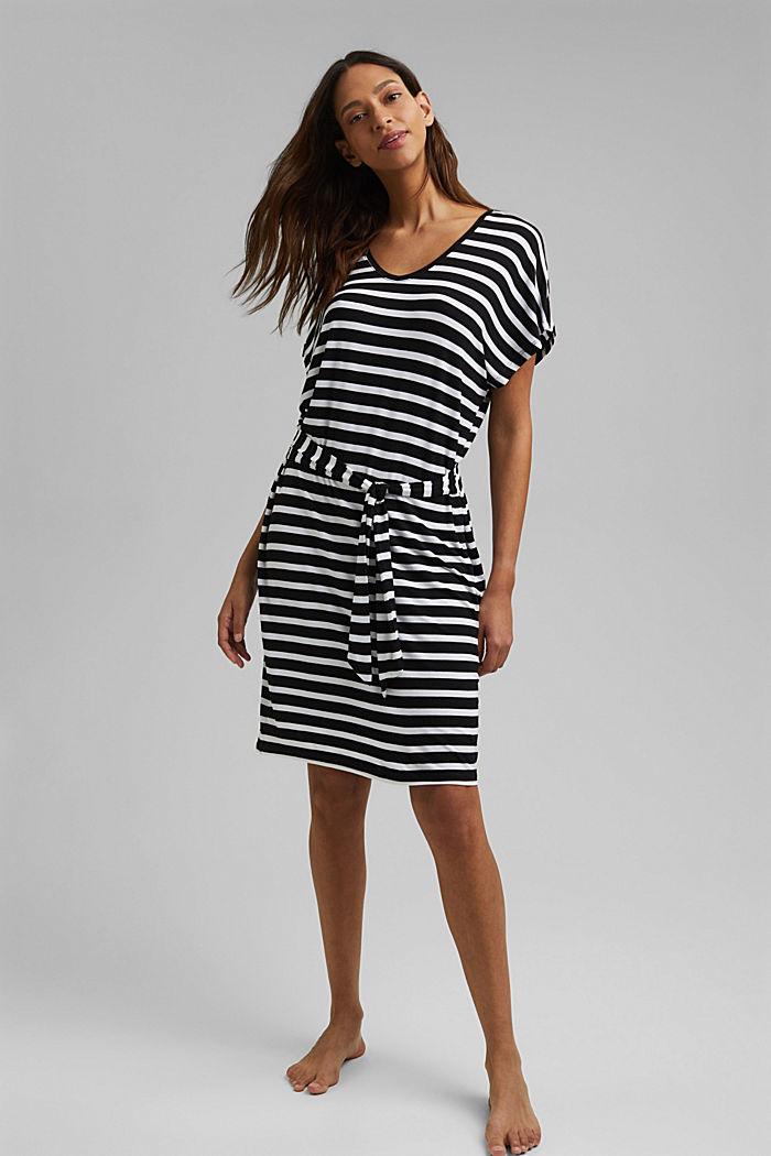 Jersey-Strandkleid aus LENZING™ ECOVERO™, BLACK, detail image number 0