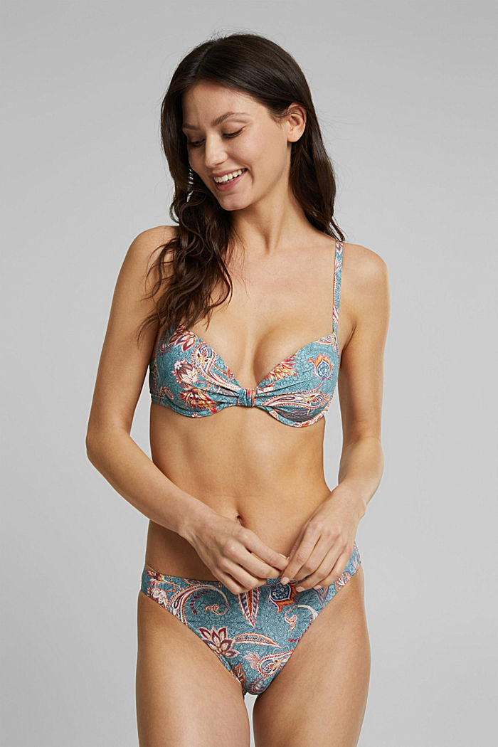 Recycled: padded underwire bikini top with a print, TEAL GREEN, detail image number 2