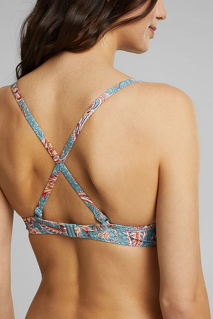 Recycled: padded underwire bikini top with a print, TEAL GREEN, detail image number 5