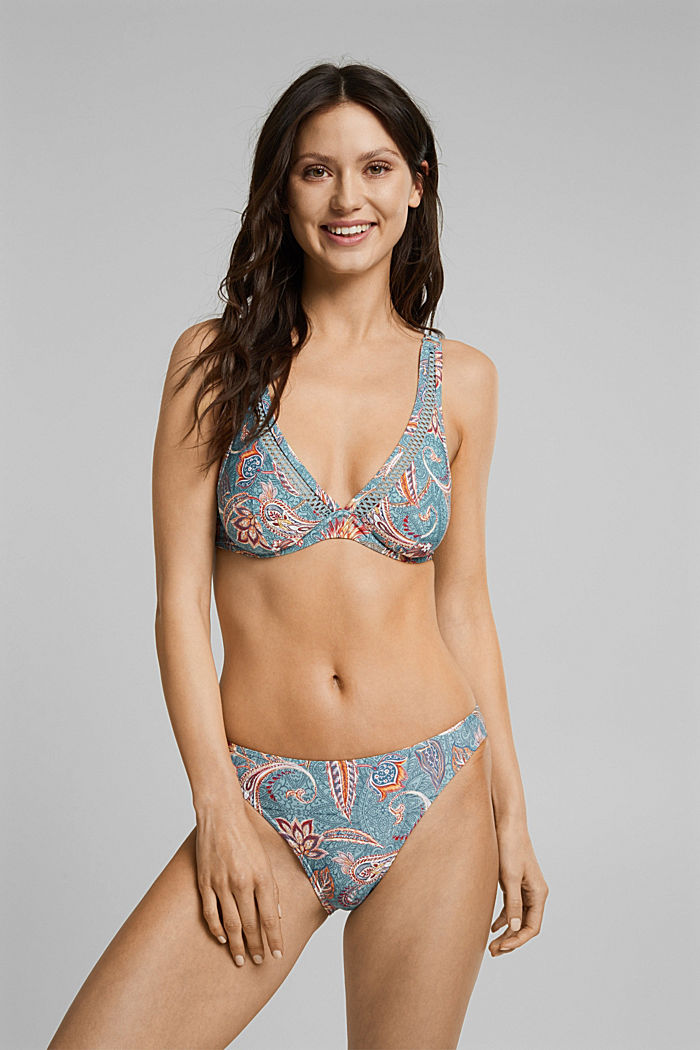 Recycled: unpadded underwire bikini top with a print