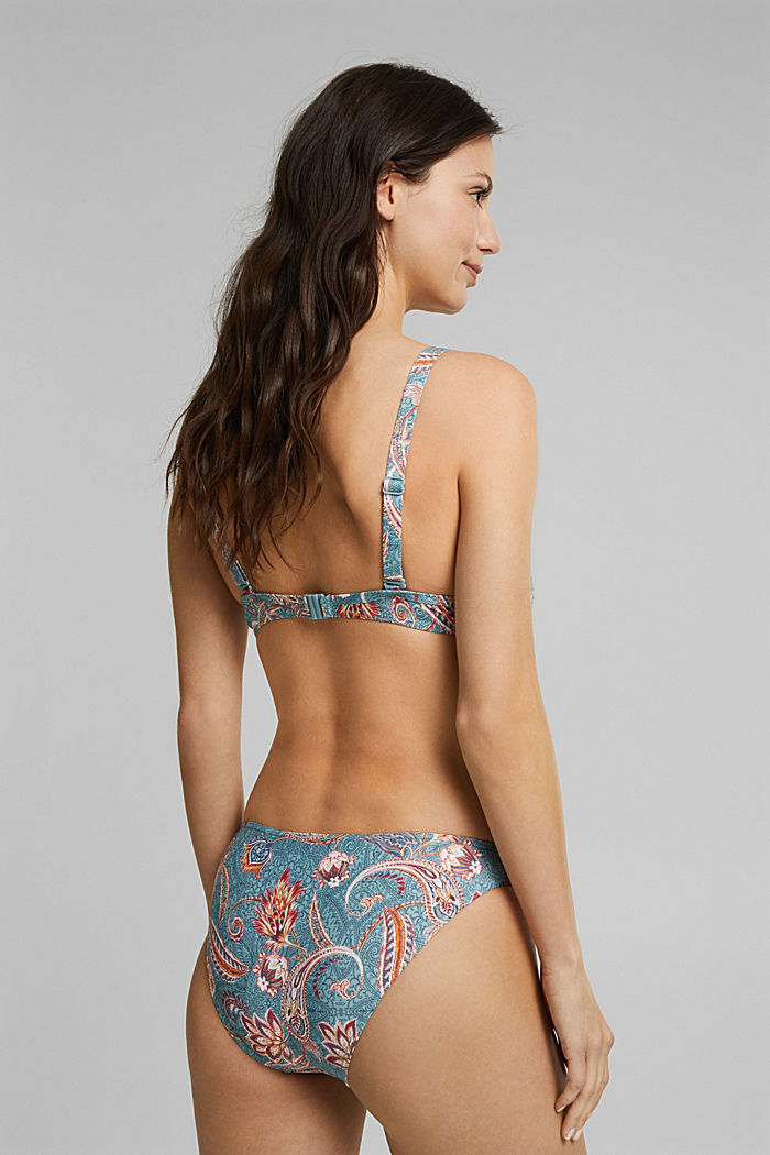Recycled: unpadded underwire bikini top with a print, TEAL GREEN, detail image number 1