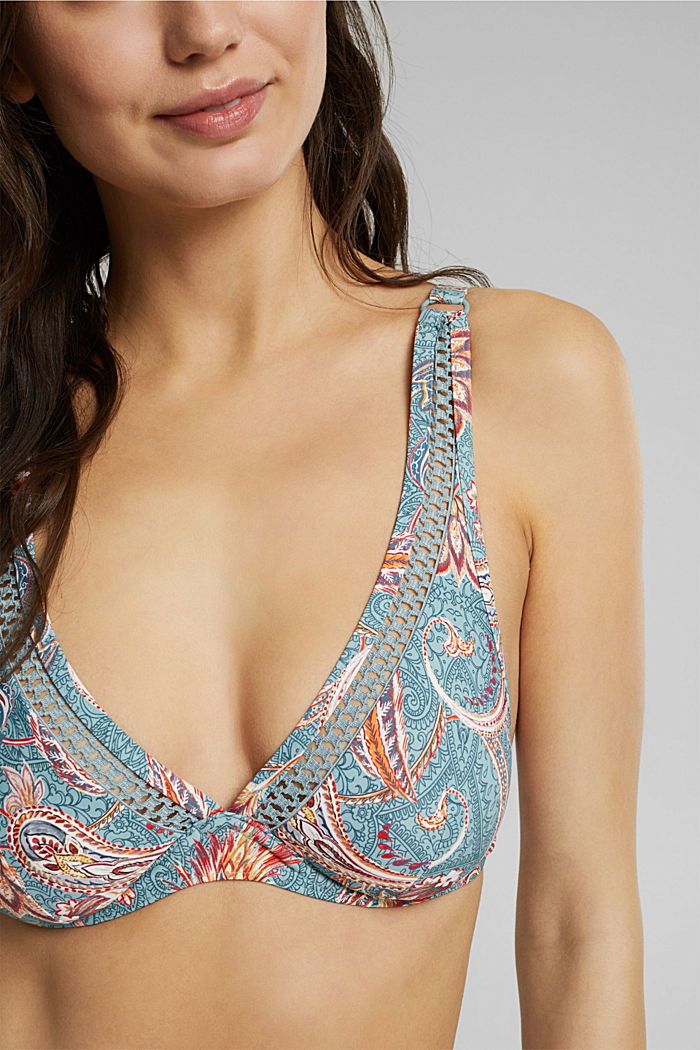 Recycled: unpadded underwire bikini top with a print, TEAL GREEN, detail image number 2