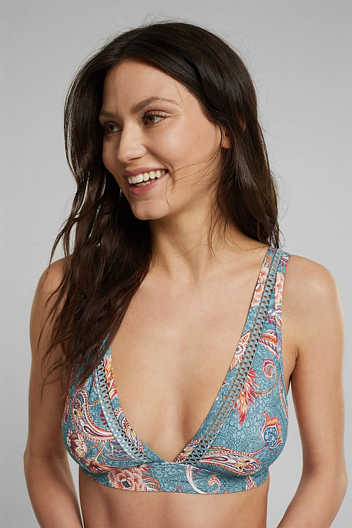 Recycled: padded bikini top with a print, TEAL GREEN, detail image number 0