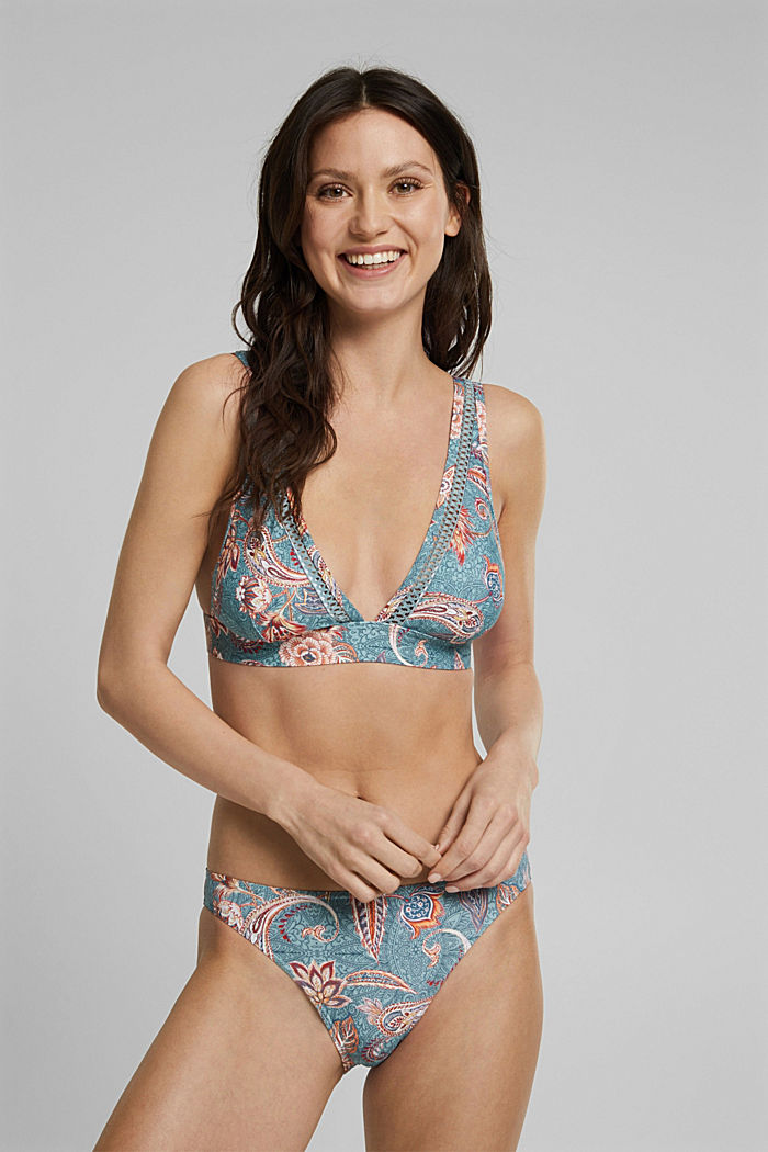 Recycled: padded bikini top with a print, TEAL GREEN, detail image number 2